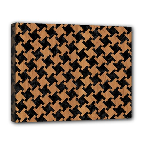 Houndstooth2 Black Marble & Light Maple Wood Canvas 14  X 11  by trendistuff