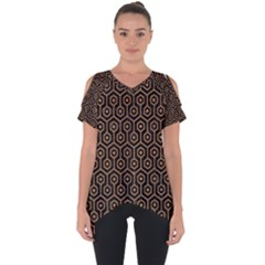 Hexagon1 Black Marble & Light Maple Wood Cut Out Side Drop Tee
