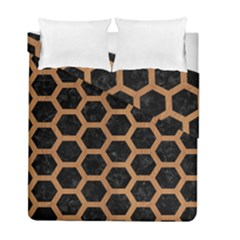 Hexagon2 Black Marble & Light Maple Wood Duvet Cover Double Side (full/ Double Size) by trendistuff