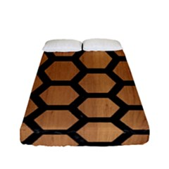 Hexagon2 Black Marble & Light Maple Wood (r) Fitted Sheet (full/ Double Size) by trendistuff