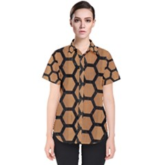 Hexagon2 Black Marble & Light Maple Wood (r) Women s Short Sleeve Shirt