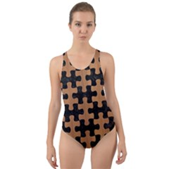 Puzzle1 Black Marble & Light Maple Wood Cut Out Back One Piece Swimsuit