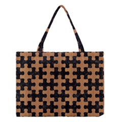 Puzzle1 Black Marble & Light Maple Wood Medium Tote Bag by trendistuff