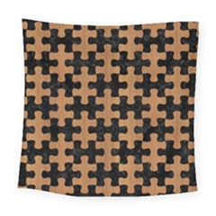 Puzzle1 Black Marble & Light Maple Wood Square Tapestry (large)