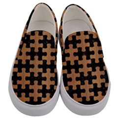 Puzzle1 Black Marble & Light Maple Wood Men s Canvas Slip Ons