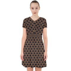 Scales2 Black Marble & Light Maple Wood Adorable In Chiffon Dress