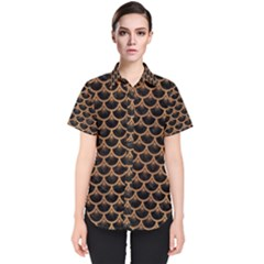 Scales3 Black Marble & Light Maple Wood Women s Short Sleeve Shirt