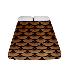 Scales3 Black Marble & Light Maple Wood (r) Fitted Sheet (full/ Double Size) by trendistuff