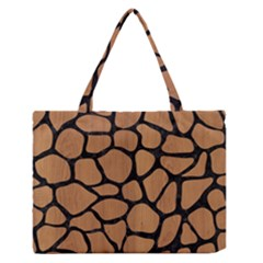 Skin1 Black Marble & Light Maple Wood Zipper Medium Tote Bag