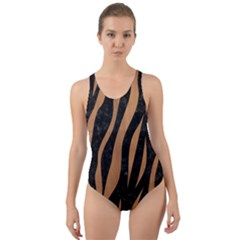 Skin3 Black Marble & Light Maple Wood Cut Out Back One Piece Swimsuit
