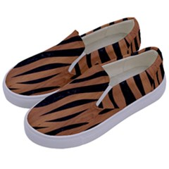 Skin3 Black Marble & Light Maple Wood (r) Kids  Canvas Slip Ons by trendistuff