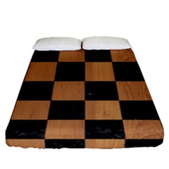 Square1 Black Marble & Light Maple Wood Fitted Sheet (queen Size) by trendistuff