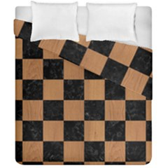 Square1 Black Marble & Light Maple Wood Duvet Cover Double Side (california King Size) by trendistuff