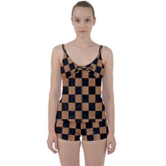 Square1 Black Marble & Light Maple Wood Tie Front Two Piece Tankini