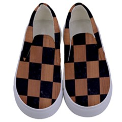 Square1 Black Marble & Light Maple Wood Kids  Canvas Slip Ons
