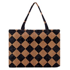 Square2 Black Marble & Light Maple Wood Zipper Medium Tote Bag