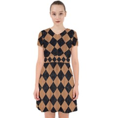 Square2 Black Marble & Light Maple Wood Adorable In Chiffon Dress