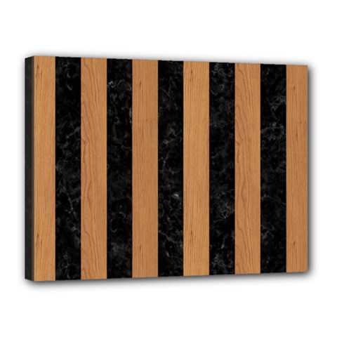 Stripes1 Black Marble & Light Maple Wood Canvas 16  X 12  by trendistuff