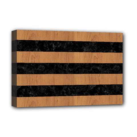 Stripes2 Black Marble & Light Maple Wood Deluxe Canvas 18  X 12   by trendistuff