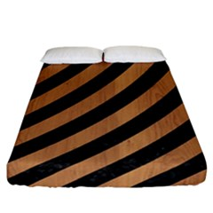 Stripes3 Black Marble & Light Maple Wood Fitted Sheet (california King Size) by trendistuff