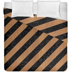 Stripes3 Black Marble & Light Maple Wood Duvet Cover Double Side (king Size) by trendistuff