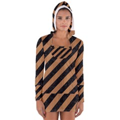 Stripes3 Black Marble & Light Maple Wood Long Sleeve Hooded T Shirt
