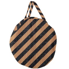 Stripes3 Black Marble & Light Maple Wood Giant Round Zipper Tote