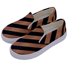 Stripes3 Black Marble & Light Maple Wood Kids  Canvas Slip Ons by trendistuff