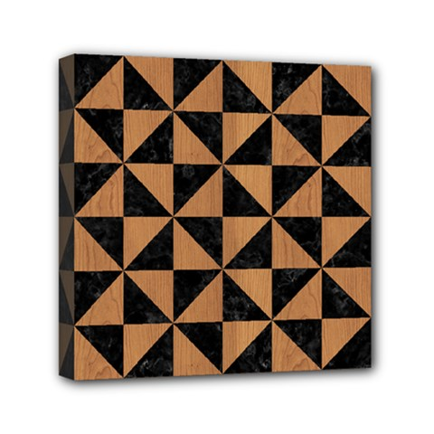 Triangle1 Black Marble & Light Maple Wood Mini Canvas 6  X 6  by trendistuff
