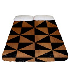 Triangle1 Black Marble & Light Maple Wood Fitted Sheet (king Size) by trendistuff