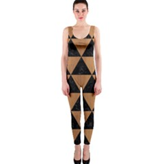 Triangle3 Black Marble & Light Maple Wood Onepiece Catsuit by trendistuff