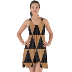Triangle3 Black Marble & Light Maple Wood Show Some Back Chiffon Dress by trendistuff