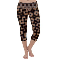Woven1 Black Marble & Light Maple Wood Capri Yoga Leggings by trendistuff