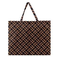 Woven2 Black Marble & Light Maple Wood Zipper Large Tote Bag by trendistuff