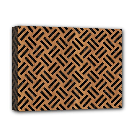 Woven2 Black Marble & Light Maple Wood (r) Deluxe Canvas 16  X 12   by trendistuff