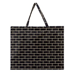 Brick1 Black Marble & Light Sand Zipper Large Tote Bag by trendistuff