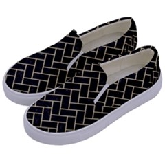 Brick2 Black Marble & Light Sand Kids  Canvas Slip Ons by trendistuff