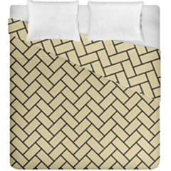 Brick2 Black Marble & Light Sand (r) Duvet Cover Double Side (king Size) by trendistuff