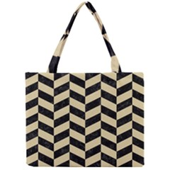 Chevron1 Black Marble & Light Sand Mini Tote Bag by trendistuff