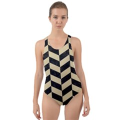Chevron1 Black Marble & Light Sand Cut Out Back One Piece Swimsuit