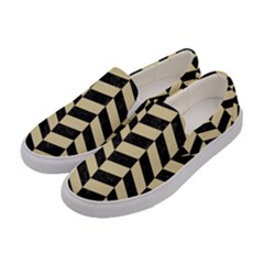Chevron1 Black Marble & Light Sand Women s Canvas Slip Ons by trendistuff