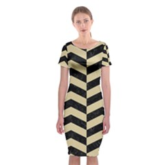 Chevron2 Black Marble & Light Sand Classic Short Sleeve Midi Dress by trendistuff