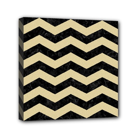 Chevron3 Black Marble & Light Sand Mini Canvas 6  X 6  by trendistuff