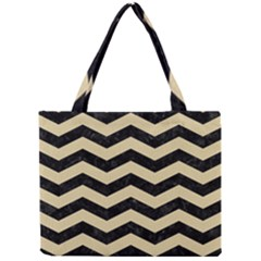 Chevron3 Black Marble & Light Sand Mini Tote Bag by trendistuff