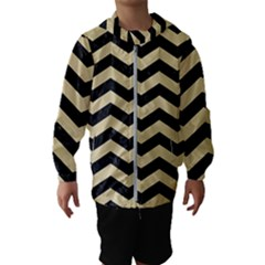 Chevron3 Black Marble & Light Sand Hooded Wind Breaker (kids) by trendistuff