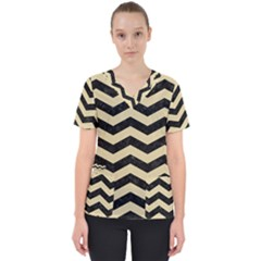Chevron3 Black Marble & Light Sand Scrub Top by trendistuff