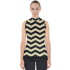 Chevron3 Black Marble & Light Sand Shell Top by trendistuff