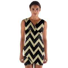Chevron9 Black Marble & Light Sand Wrap Front Bodycon Dress by trendistuff