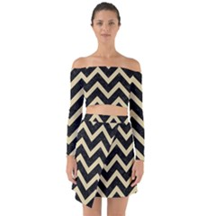 Chevron9 Black Marble & Light Sand Off Shoulder Top With Skirt Set by trendistuff
