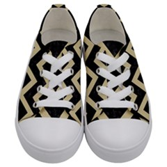 Chevron9 Black Marble & Light Sand Kids  Low Top Canvas Sneakers
